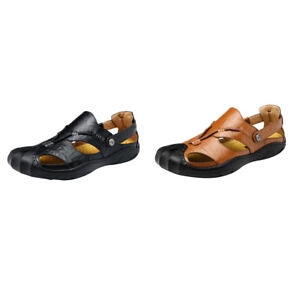 Faux Leather Sandals Closed Toe Fisherman Beach Sports Shoes Mens Hiking