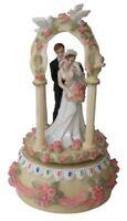 Married Couple Wind up Musical Carousel Bride Groom Wedding Gift