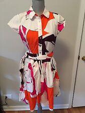 Diane Von Furstenberg White Pink Orange Floral Button Down Shirt Dress  6