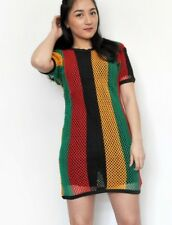 Womens Rasta Multicolour Striped Vest T Shirt Dress See through Net Top Reggae