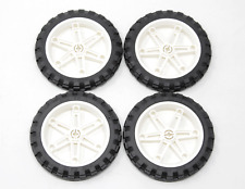 Lot Of 4 Lego 81.6 x 15 Mindstorm White Rims W/ Tires Technic Motorcycle Wheels