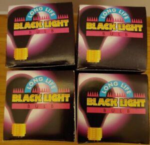 Lot of 4 Black Light Long Life Bulbs - 75 Watt 120 Volt Halloween Party Lighting