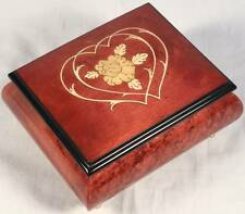 "Italian Inlaid Hearts Wood Music Box ""Music Box Dancer""-FREE SHIPPING"