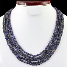 325.00 CTS NATURAL 5 STRAND RICH BLUE TANZANITE ROUND SHAPED BEADS NECKLACE