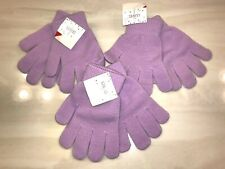 3 pair New Nwt girls Light Purple Winter Gloves one size fits most Super Stretch