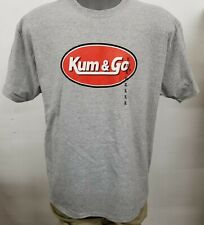 Kum & Go Gas Station Travel Stop Logo Men's Grey T-shirt Funny Size Large Gildan