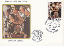 1979 LIBERIA SCOUTING / NORMAN ROCKWELL COMMEM.FDC COVER - FORWARD AMERICA
