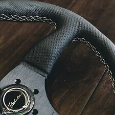 PERFORATED LEATHER WHITE STITCH SPOKE FITS MOMO VIILANTE LEGGERA STEERING WHEEL