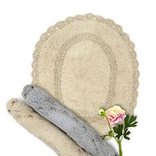 Tappeto bagno Shabby chic con Crochet Colore Beige Chiaro 48x58