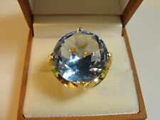 14kt Yellow Gold Blue Topaz Cocktail Solitaire Ring Size 7.25 & 9.2 grams
