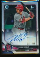 NOLAN GORMAN AUTO 2018 Bowman Draft Chrome Autograph REFRACTOR #/499 Rookie RC