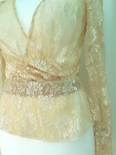 MANGO Gold Floral Lace Fashion cross over top size L Bargain RRP£55 NEW