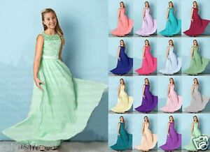 New Floor length Jewel Princess Junior Girl Dresses Bridesmaid Dress 4-14 years