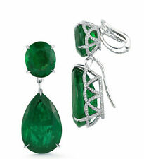 Dangle Wedding Earring Solid Sterling Silver 925 Jewelry Green Pear Round Gift