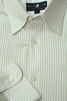 Hart Schaffner Marx Men's White Beige Stripe Cotton Casual Sport Shirt L Large
