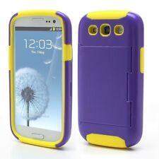 Samsung i9300 Galaxy S3 Silicone Hybrid Hard Case/Card Storage- Purple/Yellow