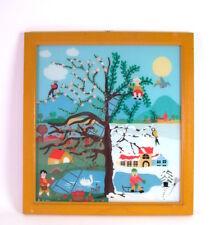 naive Kunst - Hinterglas Bild - Vier Jahreszeiten Baum - Monogramm  AH 1981
