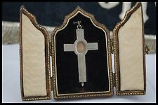 † 19TH VERA CROCE TRUE CROSS RELIC STERLING CROSS RELIQUARY LEATHER CASE ITALY †