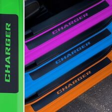 Door Sill Plate Protectors Black Matte Vinyl Fits Dodge Charger Year 2008-2016