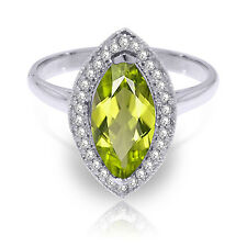 2.15 ct Platinum Plated 925 Sterling Silver Ring Diamond Marquis Peridot