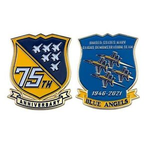 """NAVY BLUE ANGELS 75TH ANNIVERSARY 2.25"""" CHALLENGE COIN"""