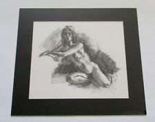 Mid Century Thad Brykalski  Detroit/Santa Fe Charcoal Female Nude Drawing 1964