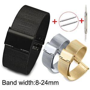 8-24mm Milanese Loop Band Stainless Steel Metal Bracelet Mesh Strap Pins & Tool