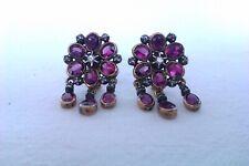 Rare & Beautiful Pair Of 18ct Gold Ruby & Diamond Victorian Drop Earrings c1883
