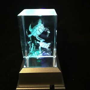 New Turtles Swimming -  3D Laser Etched Crystal Block With Light base