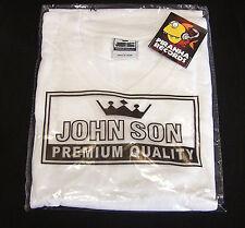 WHITE JohnSon Heavy Weight Cotton 5XL V-Neck T-Shirt Piranha Records