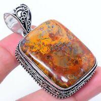 "Seame Agate Gemstone Ethnic Handmade Gift Jewelry Pendant 1.97"" JH"
