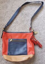 Coach Legacy colorblock Large Duffle bag crossbody 19979 red navy tan leather