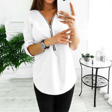 Women Chiffon Loose Tops Long Sleeve Sexy Zip V Neck T Shirt Casual Blouse Shirt