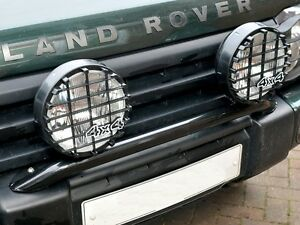 "LAND ROVER 4x4's BLACK 8"" LIGHT HALOGEN 100W 12 V DRIVING LAMP SET WITH GRILLES"