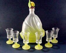 MURANO GLASSWARE, ITALY: DECANTER W 6 GLASSES - SHIP DESIGN LEMON YELLOW FROSTED