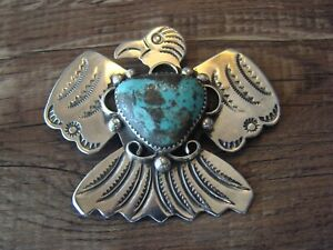 Navajo Sterling Silver Turquoise Thunderbird Pin by Albert Cleveland