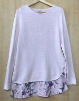 Per Una Size 14 Pink Ribbed Jumper Tunic With Floral Layer (Chest 45cm Across)