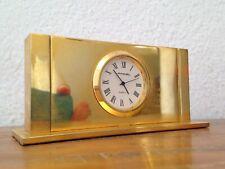 superbe horloge à poser pendule pendulette de bureau LANCEL en métal doré