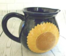 """Papel Freelance Sunflower Blue Hand Painted Ceramic Pitcher 5"""" tall"""