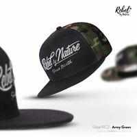 Rebel By Nature RC2 Snapback Cap Mütze Unisex Kappe Baseball Hip-Hop ARMY-GREEN