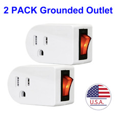 (2 Pack) Grounded Outlet Adapter Wall Tap Adapter W/Red Indicator On/Off Switch