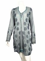 🌼 Johnny Was BIRCH Embroidered Eyelet Georgette Tunic / Dress Blouse $268 XS 🌼
