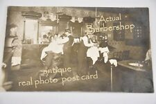 Real PHOTO post card Barber Shop authentic original w/ round seat barber chair!