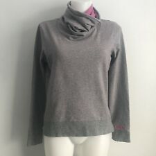 BENCH Heathered Gray Pink Funnel Neck Sweatshirt L/S Knit Shirt Thumbholes M