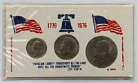1776-1976 US Bicentennial Clad 3 Coin Set Cowens Vinyl Holder AU+/UNC Coins