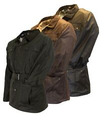Mens Walker and Hawkes Waxed Belted Motorcycle Wax Cotton Waterproof Jacket
