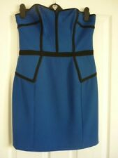 Warehouse Electric Blue Black Bustier Pencil Party Dress. UK 14 EUR 40-42 US 10