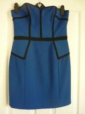 WAREHOUSE ELECTRIC BLUE BLACK BUSTIER PENCIL PARTY DRESS. UK 14,EUR 40-42, US 10