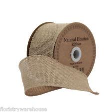 Naturale Tela di iuta Nastro 70mm/7cm largo x 9m/9.1m rotolo