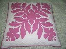 """Pillow Decorative Hawaiian Flower Decor Pink & White 19"""" x 19"""" Quilted"""